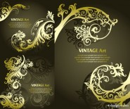 Golden European classical pattern vector material