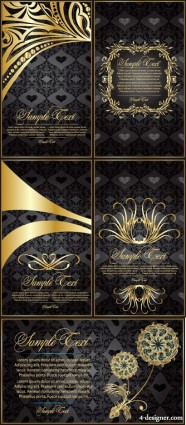 Golden lace pattern vector material