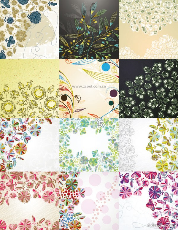Lovely small floral background vector material