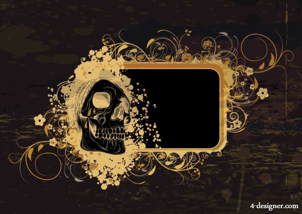 The skull pattern background 03   Vector