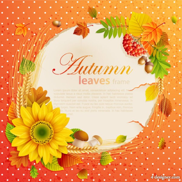 Beautiful autumn leaves photo frame background 05   vector material