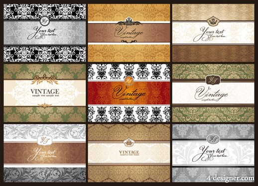 Classic pattern card background 01   vector material