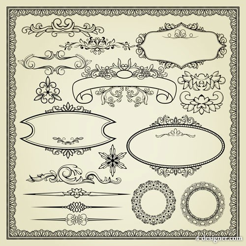 European lace pattern 04   vector material