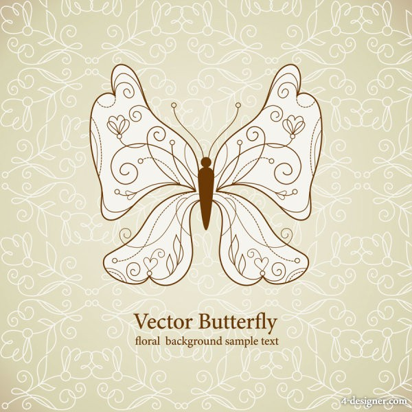 Exquisite butterfly pattern 05   vector material