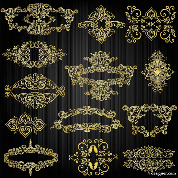 Exquisite fine gold pattern 03   vector material