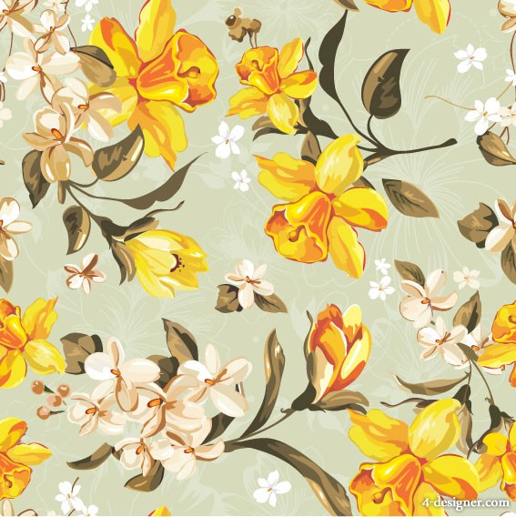Exquisite flowers pattern 01   vector material