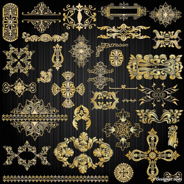 Exquisite gold pattern 02   vector material