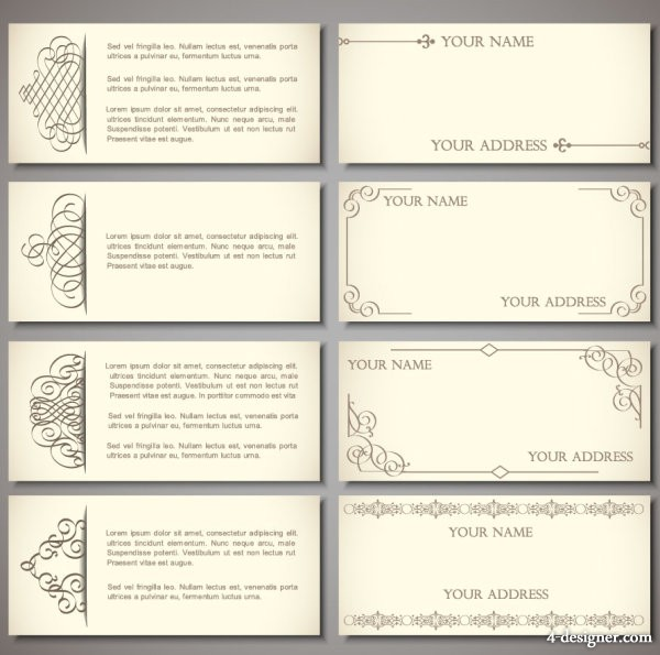 Exquisite pattern edge business card template 01   vector material