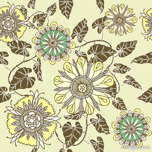 Flower patterns 05   vector material