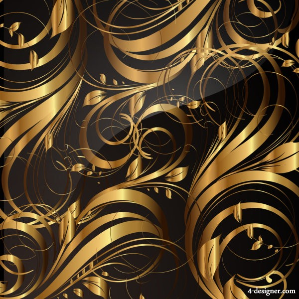 Golden pattern patterns 05   vector material