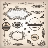 Classic pattern stickers 04   Vector material