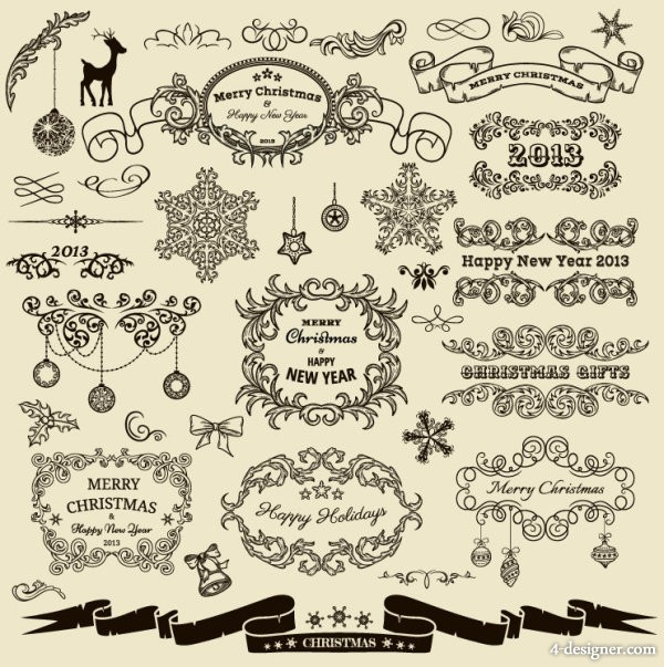 European Christmas lace pattern 03   vector material