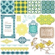 Exquisite lace pattern 02   vector material