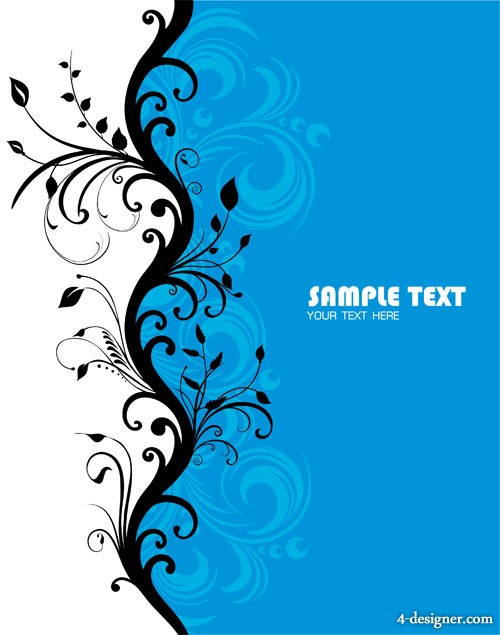 Blue fashion pattern vector material