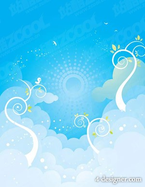 Plants on the sky Vector material