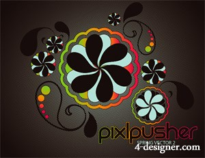 Spring pattern vector material