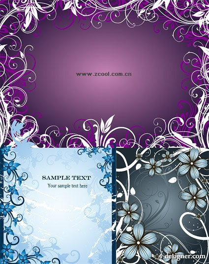 3 fashion flower border vector material
