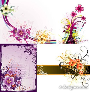 4 exquisite flower pattern vector material