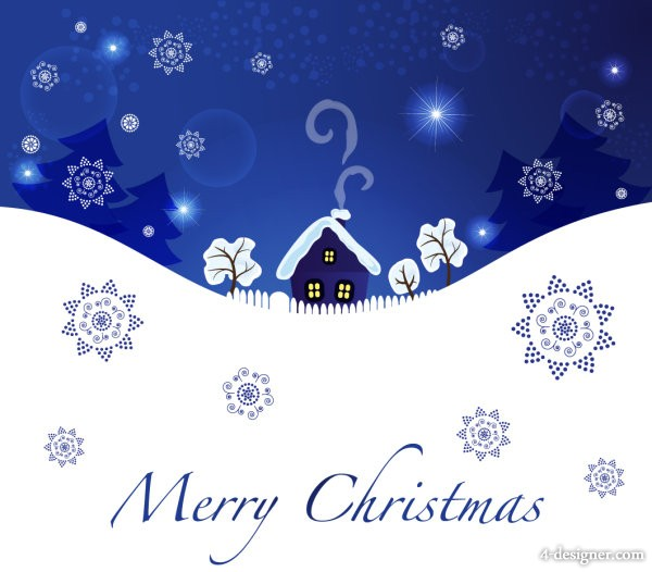 Christmas blue background 04   vector material
