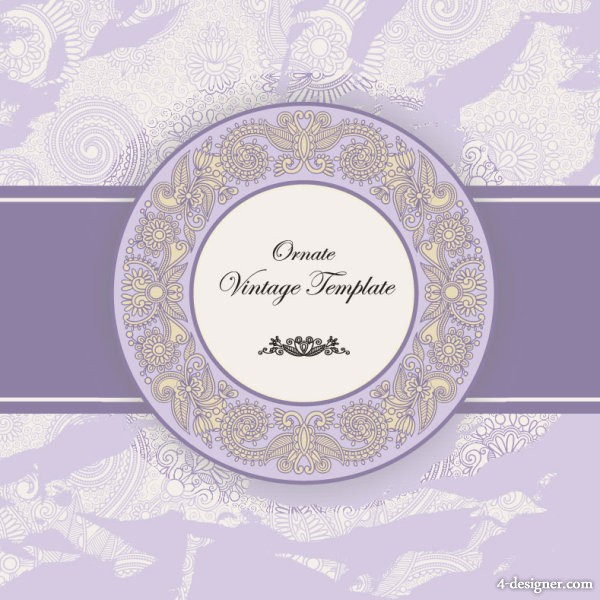 Classic label classic pattern 04   vector material