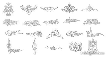 4 Designer European Line Drawing Lace Elements Vector Material