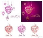 Heart shaped pendant pattern composed of vector material
