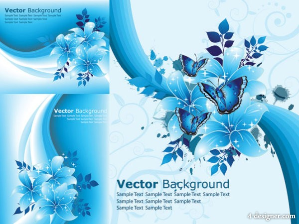 Pretty blue flowers vector material