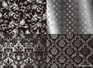 Black and white two party continuous pattern vector material   Vector