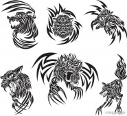 Classic animal tattoo patterns 03   vector material