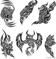 Classic animal tattoo patterns 04   vector material