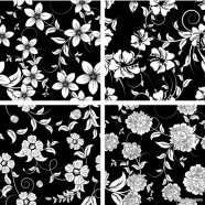 Classic traditional black and white pattern 03   vector material
