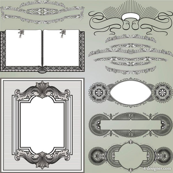 European gorgeous classic decorative pattern vector material 2