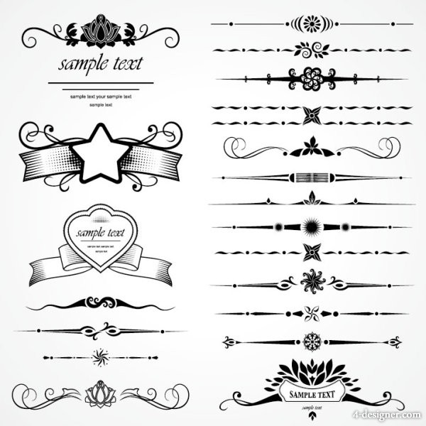 Retro lace pattern 07 vector material