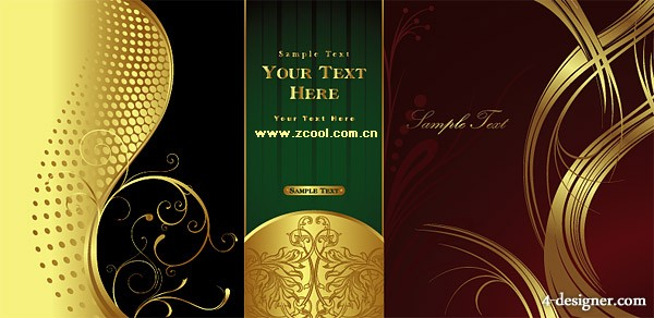 3 models gorgeous gold pattern pattern vector material