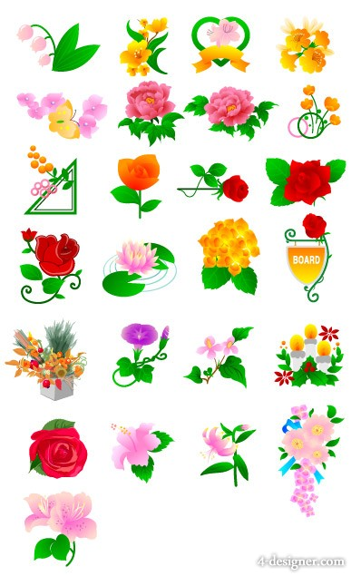 Peonies roses tulips and other flowers vector material