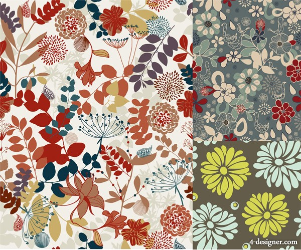 3 models colorful Floral Vector material