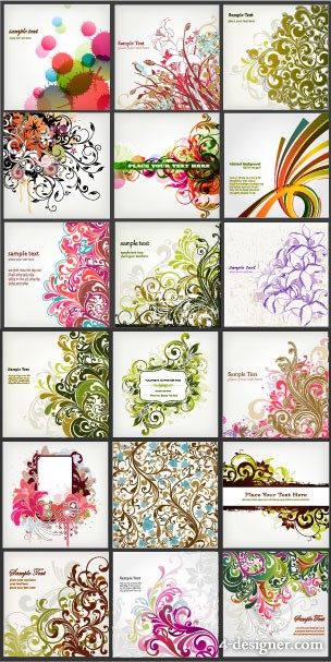 A variety of beautiful fashion pattern background vector material