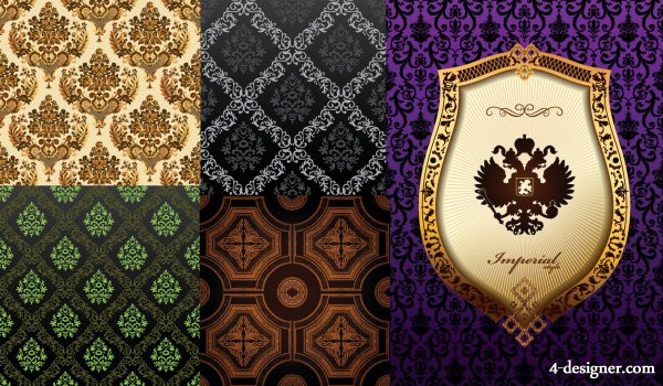 Ornate classical European pattern background vector material