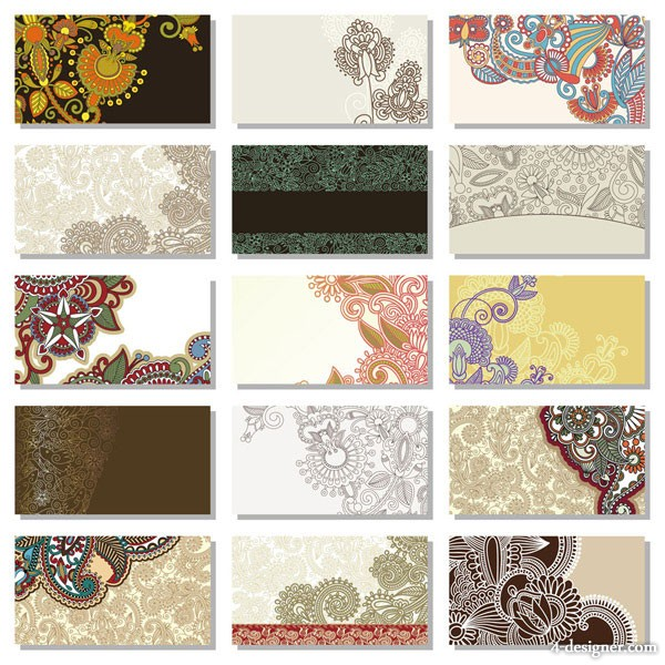 Beautiful pattern card background vector material 2