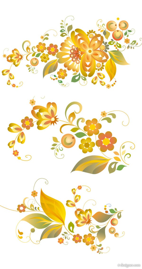 Exquisite flower style Vector Vector material