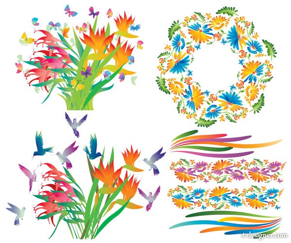Gorgeous decorative flowers vector material