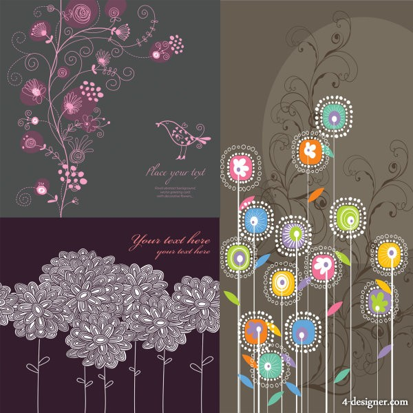 Traditional line drawing pattern vector material