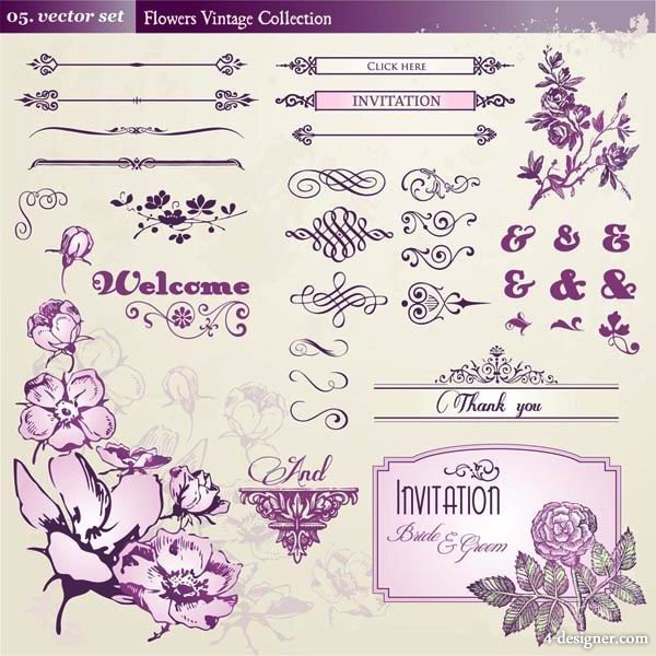 European retro pattern lace flowers vector material 1