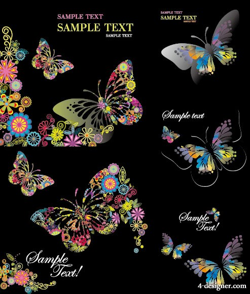 colorful butterflies vector material