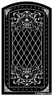 Black and white European door pattern vector material  3