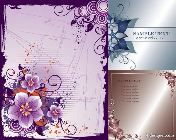 3 flower borders, Vector material