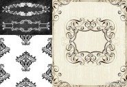 3 models of European lace pattern vector material