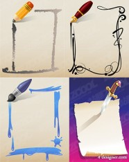 4 models of pen and paper vector material