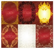 6 models of European lace border vector material