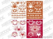 A variety of heart shaped pattern with lace elements vector material